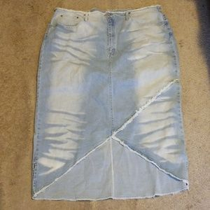 Ashley Stewart Denim Skirt with Pockets